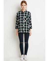 Forever 21 | Black Boxy Plaid Shirt | Lyst