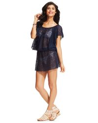 Jessica Simpson | Blue Crochet Flutter-Sleeve Cover Up | Lyst