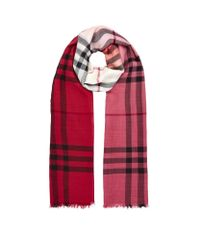 Burberry - Red Silk And Wool Ombre Check Scarf - Lyst