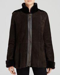 Maximilian - Brown Maximilian Stand Collar Shearling Lamb Coat With Leather Trim - Lyst