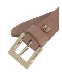 Valentino - Natural Rockstud Taupe Leather Bracelet - Lyst