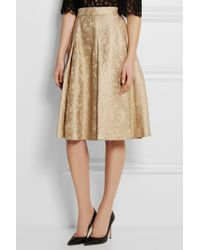 Dolce & Gabbana - Natural Pleated Cotton And Silk-Blend Jacquard Skirt - Lyst