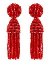 Oscar de la Renta - Red Short Beaded Tassel Clipon Earrings Clementine - Lyst
