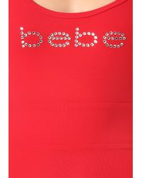 Bebe - Red Logo V-back Maxi Dress - Lyst