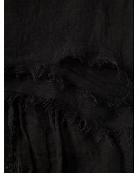 Rick Owens - Black Frayed Scarf for Men - Lyst