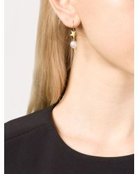 Marie-hélène De Taillac | Metallic 22kt Gold Moon And Pearl Earrings | Lyst