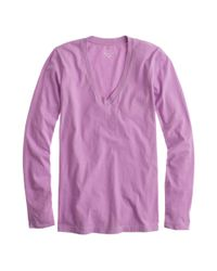 J.Crew - Purple Tissue Long-Sleeve V-Neck T-Shirt - Lyst