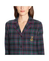 Ralph Lauren - Green Plaid Cotton Pajama Set - Lyst