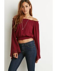 bca85f86c89934 Forever 21 Lace-trimmed Off-the-shoulder Top in Red - Lyst
