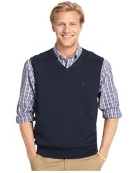 Izod | Blue Link Stitched Yoke Vest for Men | Lyst