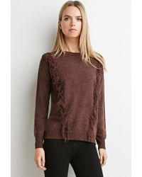 Forever 21 | Purple Fringe-trim Sweater | Lyst