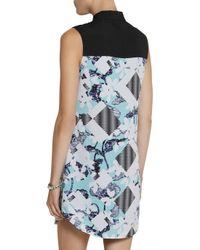 Peter Pilotto - Blue Lace-Paneled Floral-Print Crepe Shirt Dress - Lyst