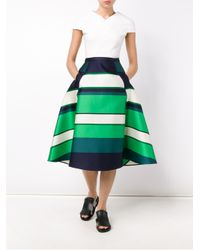 Lanvin - Green Striped Satin Midi Skirt - Lyst