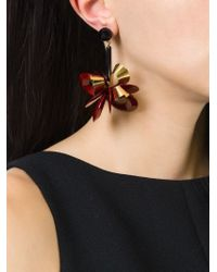 Erika Cavallini Semi Couture | Red Flower Drop Earrings | Lyst