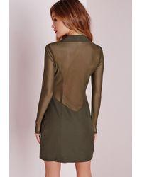 Missguided | Natural Mesh Back Blazer Dress Khaki | Lyst