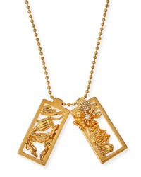 Alexander McQueen | Metallic Framed Poppy Pendant Necklace | Lyst