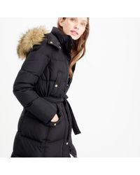 J.Crew | Black Petite Wintress Puffer Coat With Faux-fur Hood | Lyst