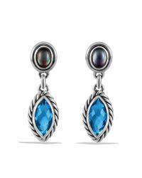 David Yurman - Confetti Doubledrop Earrings with Blue Topaz and Motherofpearl - Lyst
