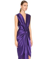 Monique Lhuillier | Purple V Neck Draped Dress - Deep Violet | Lyst
