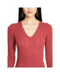 Polo Ralph Lauren | Red Wool Blend V-neck Sweater | Lyst