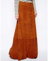 24ba128c3273 Ganni Ingrid Suede Maxi Skirt in Brown - Lyst