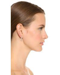 Sam Edelman - Metallic Jagged Baby Hoop Earrings - Rhodium - Lyst