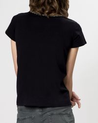 Maje - Black Tee - Grillon Embellished - Lyst