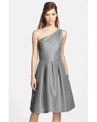 Alfred Sung | Gray One-shoulder Dupioni Fit & Flare Dress | Lyst