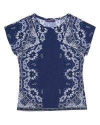 Violeta by Mango - Blue Printed Cotton T-shirt - Lyst