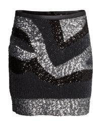 H&M | Black Sequined Skirt | Lyst