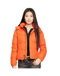 Polo Ralph Lauren | Orange Hooded Down Jacket | Lyst