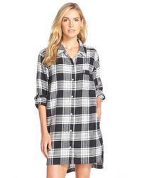 DKNY - Black Plus Plaid Long-sleeve Boyfriend Sleepshirt - Lyst