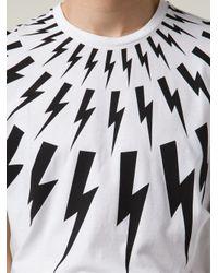 Neil Barrett - White Lightning Bolt T-Shirt for Men - Lyst