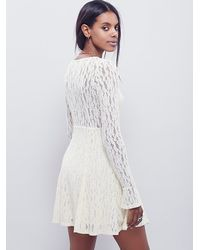 Free People | Natural Lacey Fit And Flare Dress | Lyst