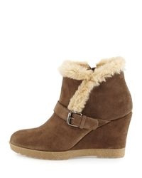 Aquatalia | Gray Carlotta Faux-Fur Lined Suede Wedge Ankle Boot | Lyst