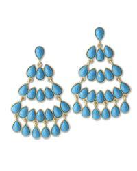 Kenneth Jay Lane | Blue Turquoise Chandelier Pierced Earring | Lyst