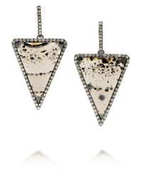 Kimberly Mcdonald | Metallic 18-Karat Blackened White Gold, Diamond And Montana Agate Earrings | Lyst