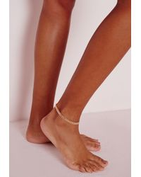 Missguided | Metallic Delicate Ankle Chain Gold | Lyst