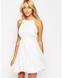 ASOS | White Skater Dress With Lace Up Back | Lyst