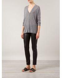 Vince - Gray Lightweight V-Neck Sweater - Lyst