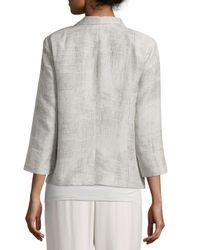 Eileen Fisher - Metallic Linen Jacquard Jacket - Lyst