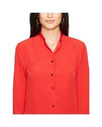 Ralph Lauren - Red Crepe De Chine Bib-front Shirt - Lyst