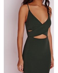 Missguided | Natural Scuba Strappy Cut Out Midi Dress Khaki | Lyst
