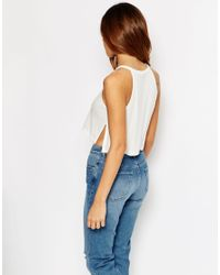 ASOS | Natural Crop Top In Rib With Side Splits | Lyst