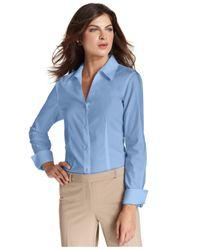 Jones New York - Blue Long-Sleeve Wrinkle-Resistant Shirt - Lyst