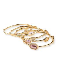 R.j. Graziano | Metallic Golden Rhinestone-station Bangle Bracelet Set | Lyst