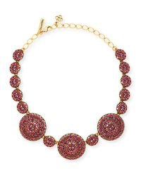 Oscar de la Renta - Pink Crystal Disc Statement Necklace - Lyst
