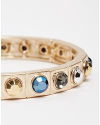 Oasis - Metallic Studded Stone Stretch Bracelet - Lyst