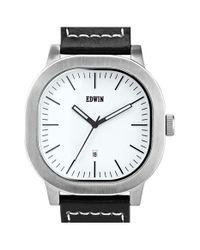 Edwin | Black 'anderson' Leather Strap Watch for Men | Lyst