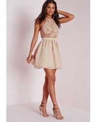 Missguided | Natural Lace Applique Detail Skater Dress Nude | Lyst